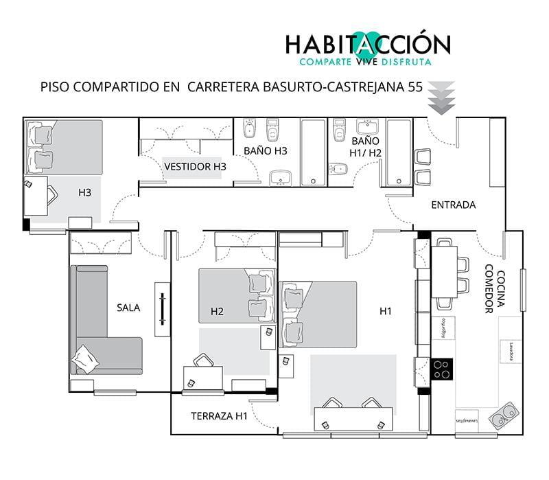 Zorrotza - Shared apartment near Bilbao