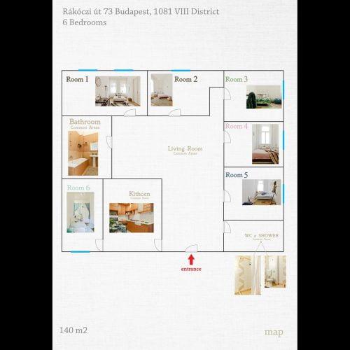 Rakoczi 4 - Bedroom for rent in Budapest