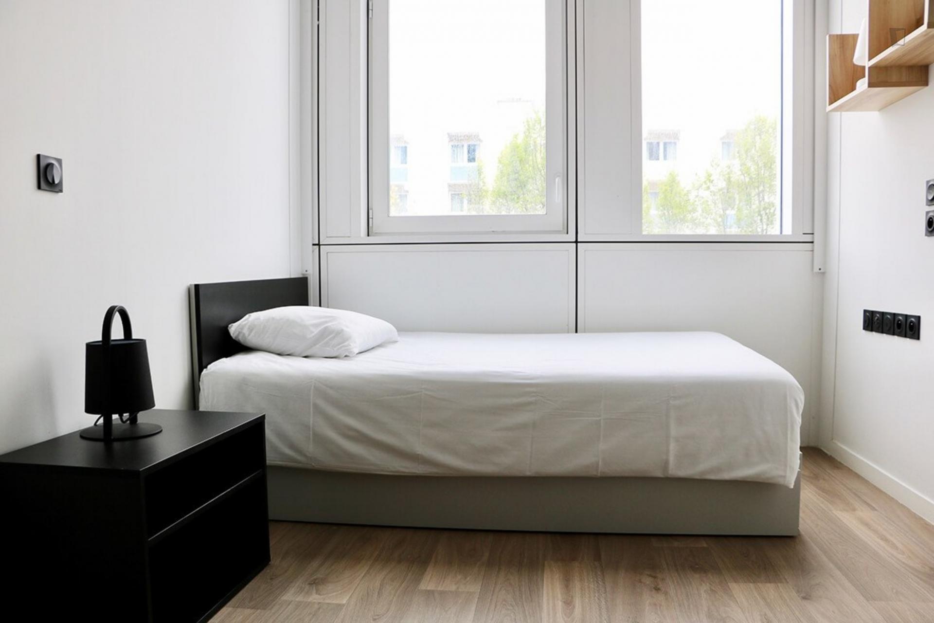 Bedroom in student residence duplex in Paris