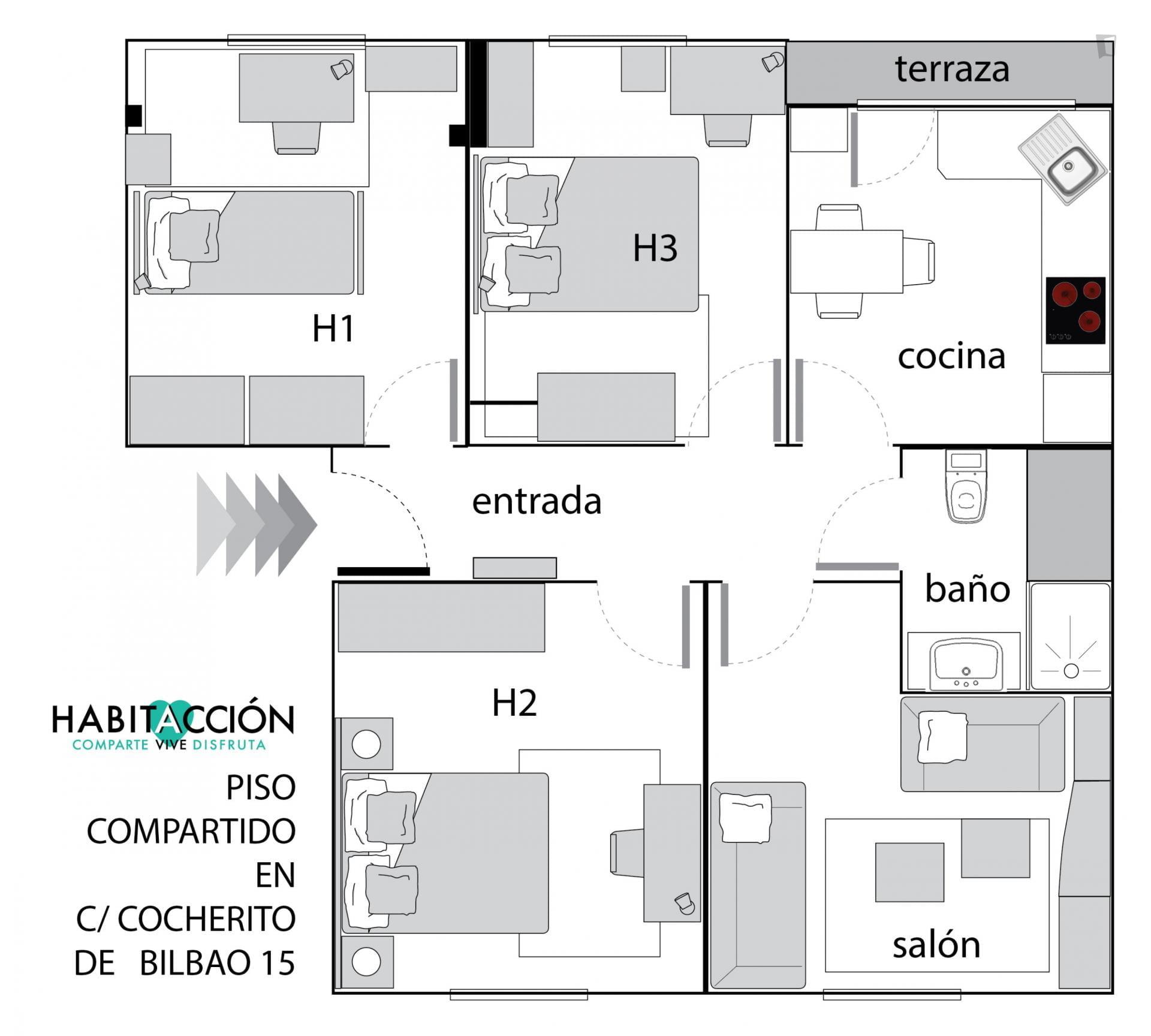 Santutxu - Nice single bedroom in Bilbao